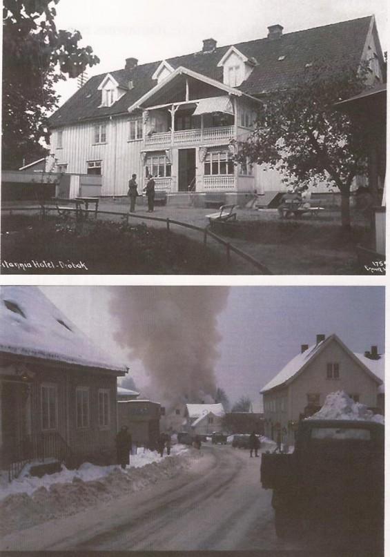 Hotel Britania før og etter brannen