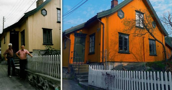 """Tranga 22 er en av bygningene Verneforeningen har vært med på å redde. Foran Sverre H. Christophersen og """"Putte"""" Halvorsen, to av Foreningens alt for tidlig avdøde ildsjeler."""