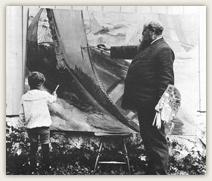 To begavede kunstmalere: Per hjelper sin far Christian Krohg med et nytt maritimt motiv.