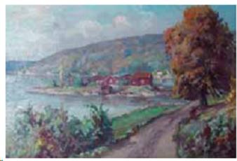 Utsikt mot Husvikholmen. Maleri: Anton Thoresen.