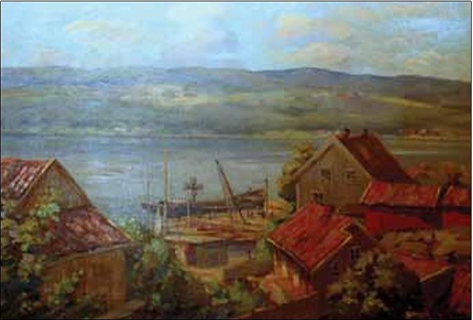 Båthavna og Solberggården.