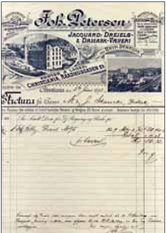 Faktura på kr. 16,32 sendt til Skanckes forretning 5. juni 1893 for dreiel (en type diagonalvevet lintøy særlig brukt til duker, laken, servietter og håndklær). Betalingen av fakturaen skulle skje «pr. Contant!», men Skancke fikk kr. 4,08 i rabatt. Nederst har fabrikkeier Joh. Petersen påført følgende kommentar: «Overanf. Stk Dreiel skal i morgen blive sendt ombord til Hr. P. Husberg paa Dampsk «Jarlsberg» eller «Horten», som afgaar herfra Kl 3 Middag. – En ny prisliste vedlægges. Med megen Agtelse ærb Joh. P.».