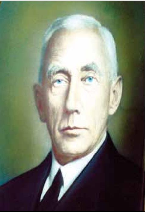 Portrettmaleri av Roald Amundsen som vi finner det i hans hjem.