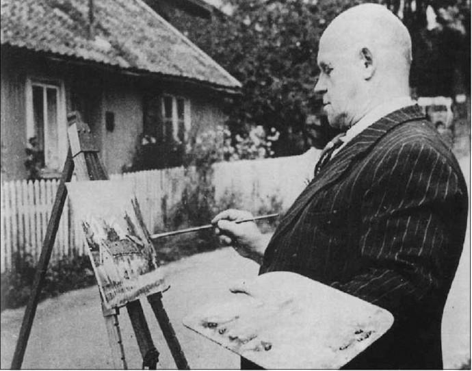 Anton Thoresen i sving med paletten i Kroketønna. Foto i Øystein Øystås bok «Glade Drøbak», Frifant forlag, 1999. Fotografiet er også å se på Grande.