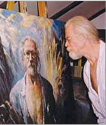 Reidar Finsrud med sitt selvportrett.