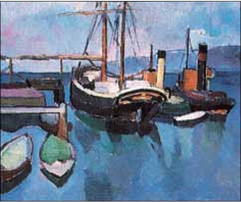 Otto Johansen (1886-1934) HAVNEN I SOON 1912 tilhører Nasjonalgalleriet. Galeasen og de to slepebåtene forteller om et tidsskifte i vår sjøfarts historie.