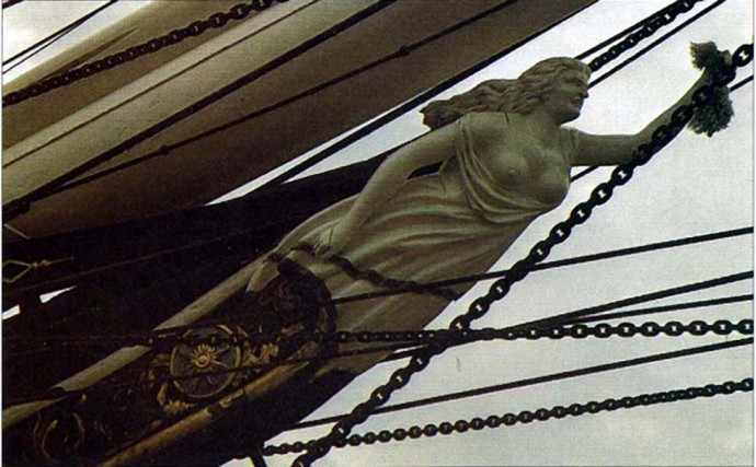 Gallionskvinne under baugen på Cutty Sark - den berømte teklipperen 1878-1895.