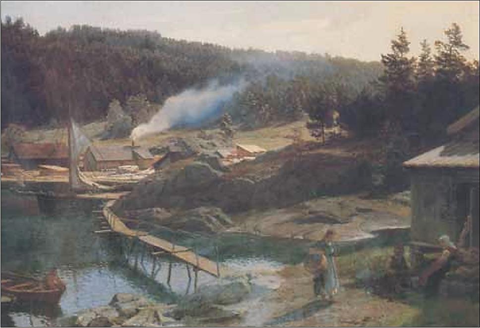 Hans Fredrik Gudes maleri av dampsaga i Vindfangerbukta sett fra Husvikholmen