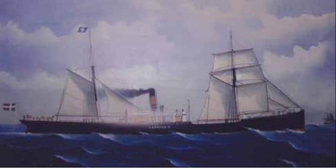 «Leopold II» hadde både seil og dampmaskin. (Foto: Bernhard Magnussen).