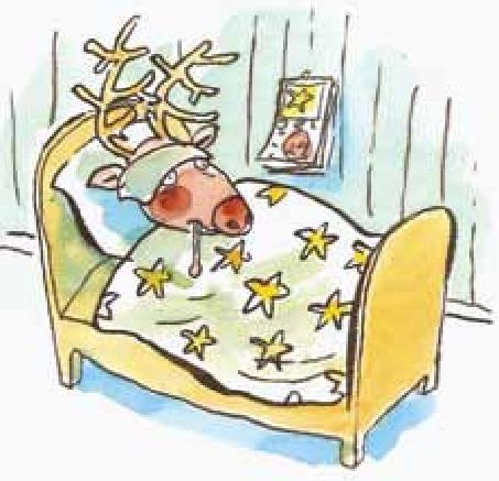 Stakkars Rudolf, tegnet av Jan-Kåre Øien, Drøbak. Fra den boken «Julenissen» av Strømstad og Øien.