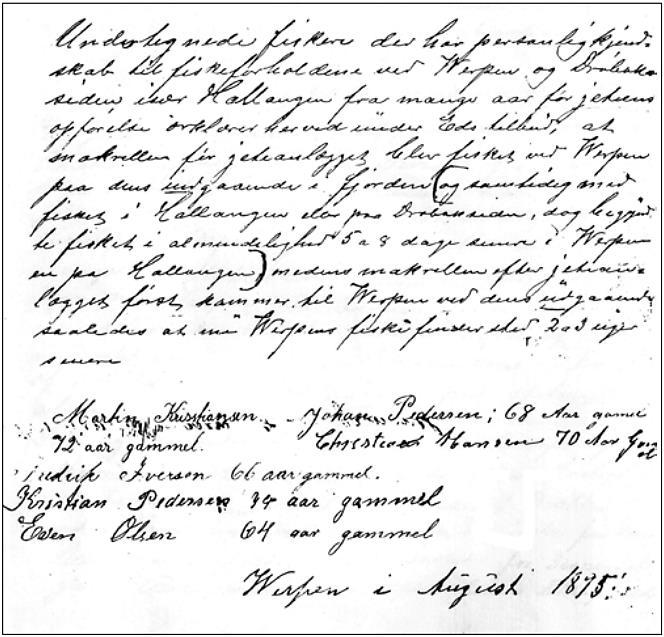 Erklæring om endringer i makrellfisket ved Verpen i Hurum datert august 1895. Den ble underskrevet av seks erfarne fiskere. (Kilde: Bernhard Magnussen