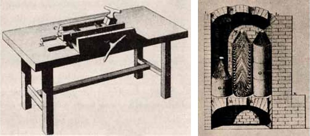 Fremstilling av krittpipefabrikasjonen. T.v.: Verkstedbord med pipeformen satt i spenn. T.h.: Snitt av brenneovn som viser plasseringen av leirpotter med piper inni. Illustrasjoner fra Diderots Encyclopédie.