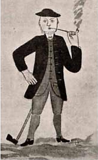 Mann med lang krittpipe. Dekorasjon fra tingstua i Ål utført av Kr. Aanstad. (Kilde: «Drammens Museum. Årbok 1938-43»).